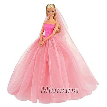 Miunana 1x Vestido de Novia Ropa Boda con 1 Velo Accesorios como Regalo para Muñeca Barbie