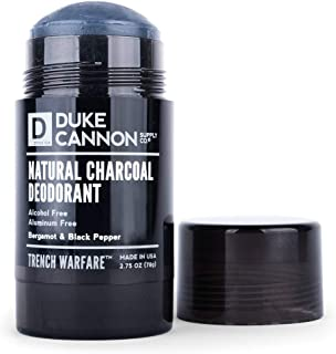 product image for Duke Cannon Supply Co. - Trench Warfare Natural Charcoal Deodorant, Bergamot & Black Pepper (2.75 oz) Alcohol and Aluminum Free Solid Deodorants for Odor Protection - Bergamot & Black Pepper