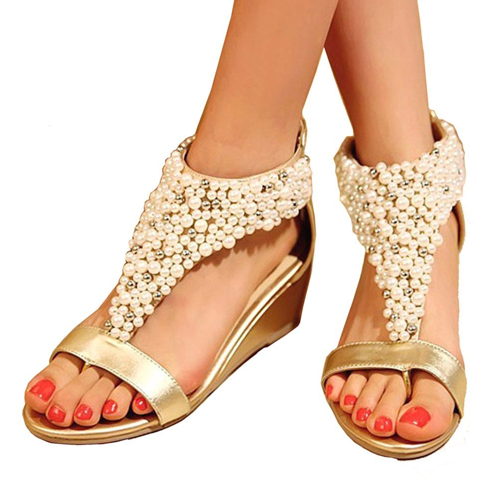 Women's Pearl Encrusted Open Toe Gold Strap Back Zip Wedge Sandals - DeluxeAdultCostumes.com