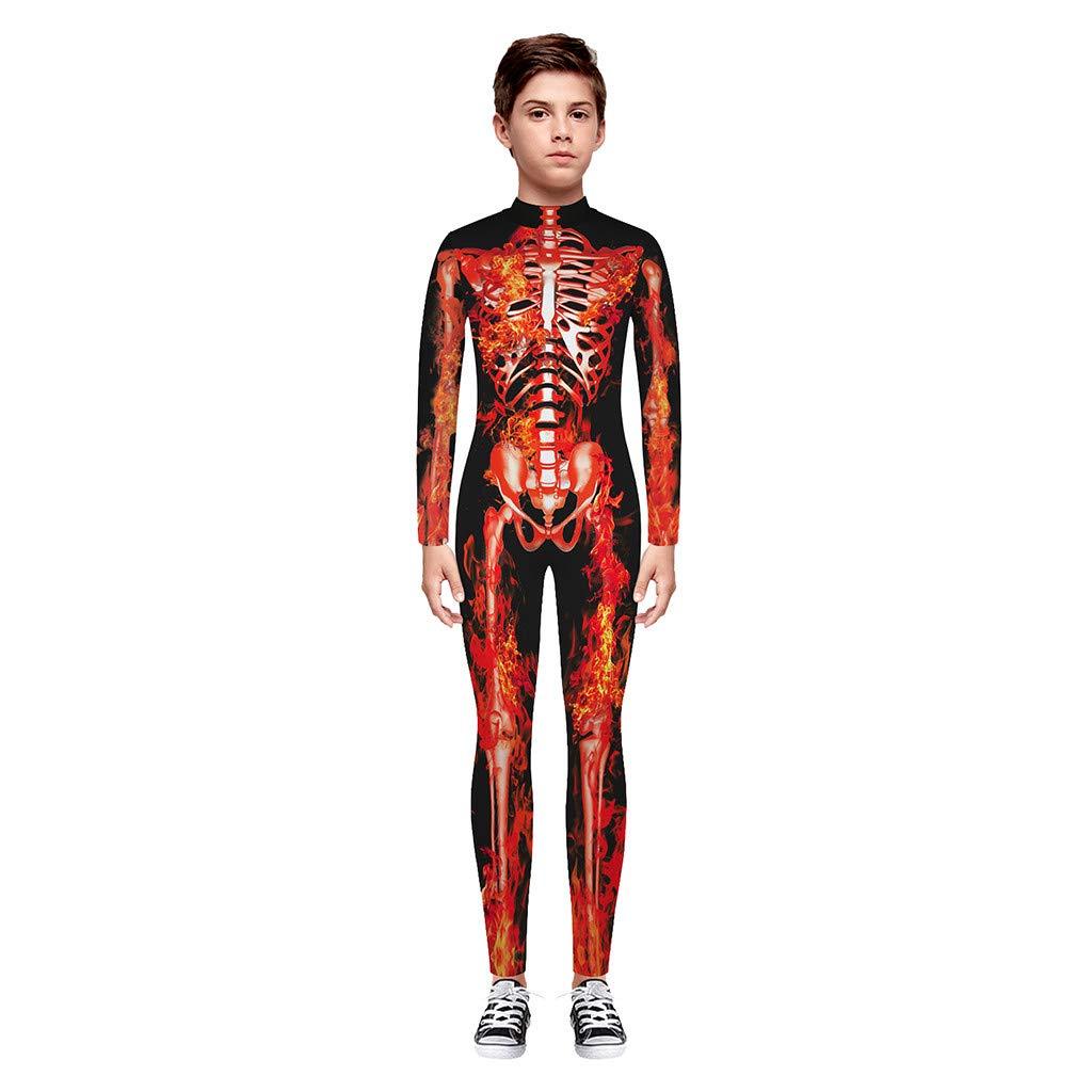 7T-14T Teen Kinder M/ädchen /& Jungen Halloween Cartoon Skull Print Strampler Overall Kleidung Oyedens