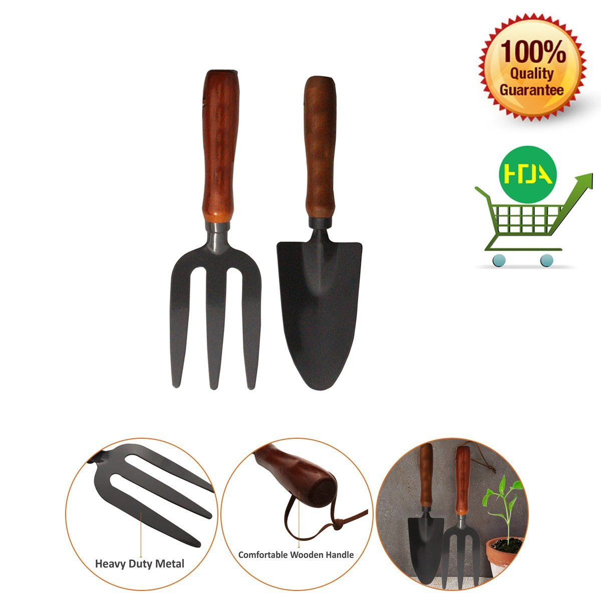 2 Pcs-Hand Tools- Garden Fork & Spade Set- Ideal & Essential - Durable Gardening Set Schone Products (UK)