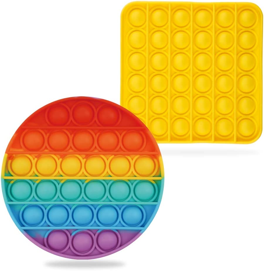 Fidget Pack with Pop it Autism Special Needs Stress Reliever Silicone Stress Reliever Toys Eco inspired Pop it Fidget Toy Circle and Sqaure 2pack