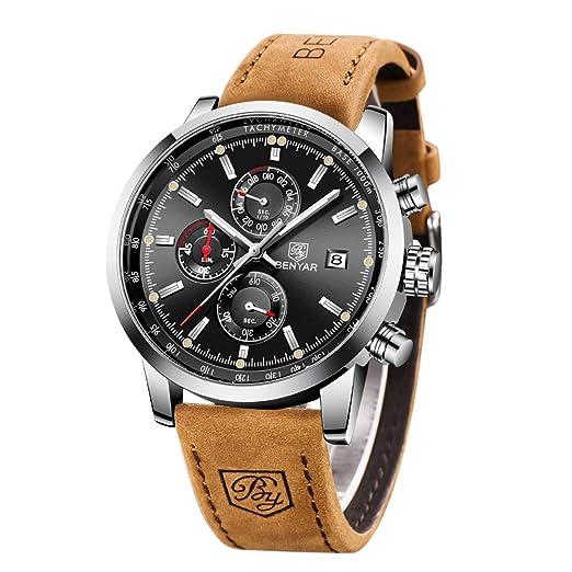 Royaume-Uni disponibilité c5f13 0169e BENYAR mode hommes Quartz chronographe imperméable à l'eau montres  d'affaires Casual sport Noir bracelet en cuir bande de poignet montre