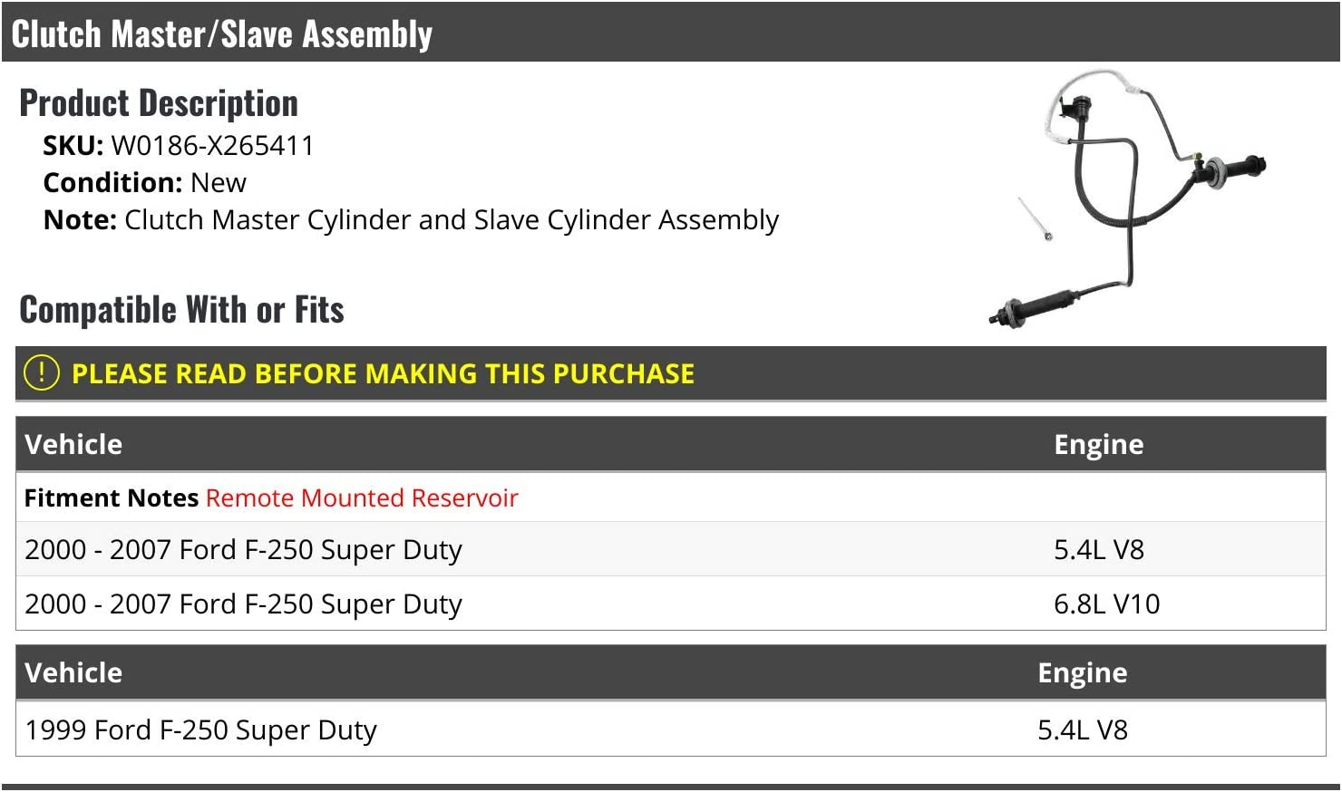 Compatible with 1999-2007 Ford F250 Super Duty Clutch Master//Slave Assembly Kit