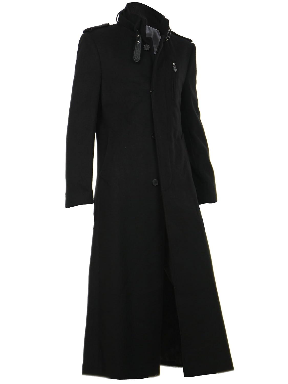 ロングコート メンズ トレンチコート コート ロング丈 ウール 超ロングコート B00PF8QBQO L|ブラック ブラック L