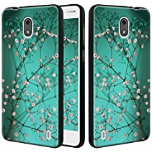 Nokia 2 Case, Linkertech Slim Air Armor Thin Fit Silicone Gel Soft TPU Bumper Durable Flex and Easy Grip Protective Case for Nokia 2 (Plum Blossom)