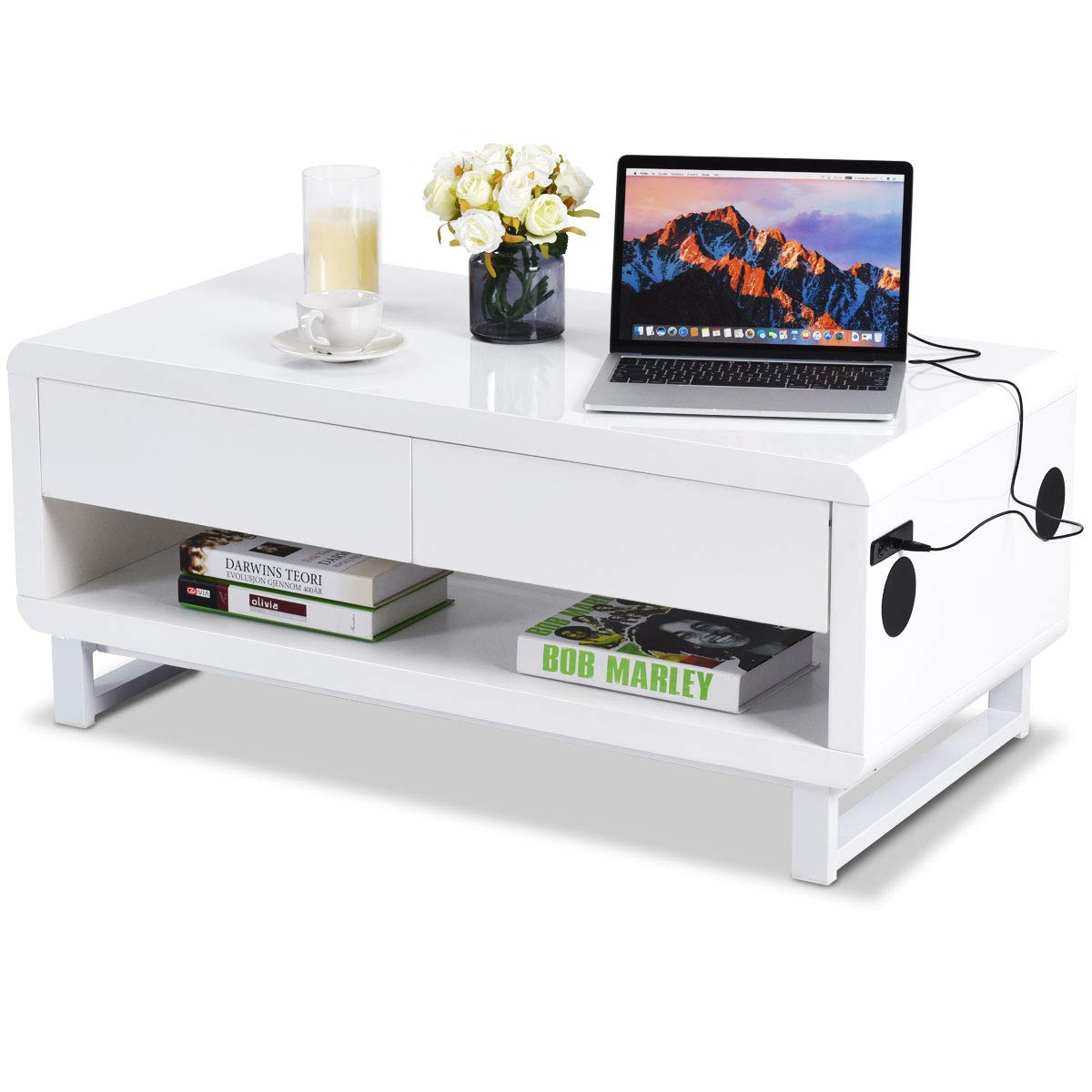 Tangkula Modern Coffee Table, W/Drawer Lights USB Charging Port/Built-in Bluetooth Speakers Console Table, Innovative Living Room Furniture, Coffee Table (White) by Tangkula