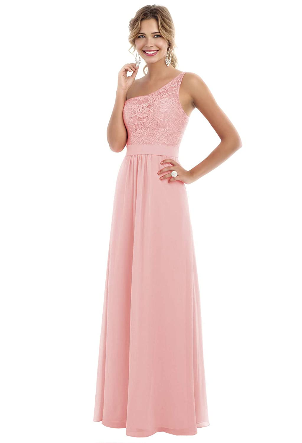 buying cheap sold worldwide where to buy Beauty Bridal Women's One Shoulder Chiffon Bridesmaid Dress Long A-line  Prom Evening Gowns S007 (12,Blush Pink)