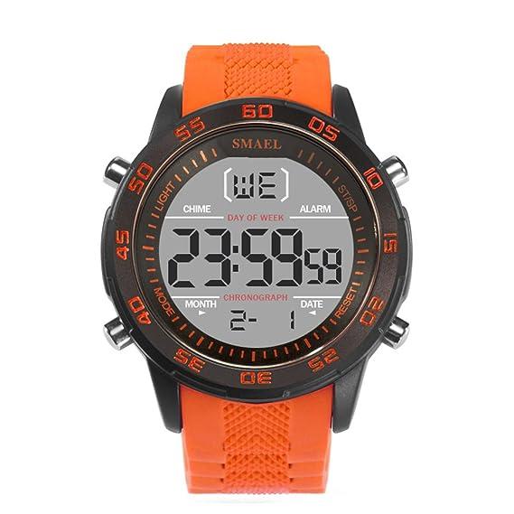 Los mejores relojes de silicona Relojes digitales para hombres Mujeres Relojes modernos de naranja: Amazon.es: Relojes