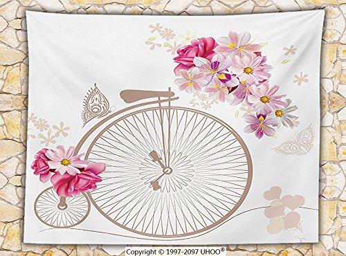 Vintage Decor Fleece Throw Blanket Bicycle with Basket Full of Flowers Daisy Rose Bridal Wedding Wheels Image Throw Beige Pink