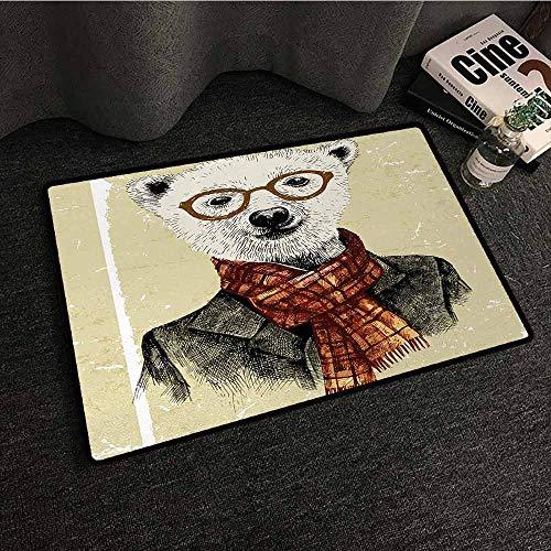 - DILITECK Interior Door mat Animal Hipster Bear with Glasses Scarf Jacket Wild Mammal Humorous Artwork Anti-Fading W35 xL47 Cream Dark Orange Black