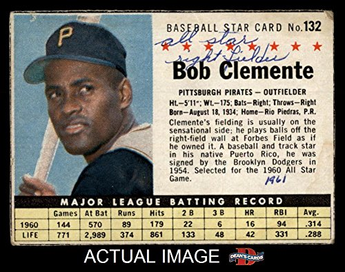 1961 Post Cereal # 132 BOX Roberto Clemente Pittsburgh Pirates (Baseball Card) (Handcut from Cereal Box) Dean