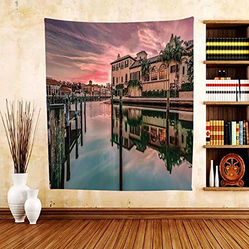 Gzhihine Custom tapestry Wanderlust Decor Tapestry Colorful Sunrise Over Venetian Bay At Naples Florida Apartments Trees Waterscape Bedroom Living Room Dorm Decor Purple - Florida Naples Outlets