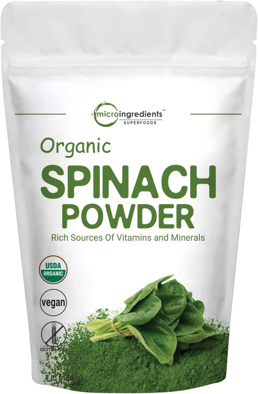 Sustainably US Grown, Organic Spinach Powder, 1 Pound, Rich in Beneficial Thylakoids and Chlorophyll, Non-GMO and Vegan Friendly