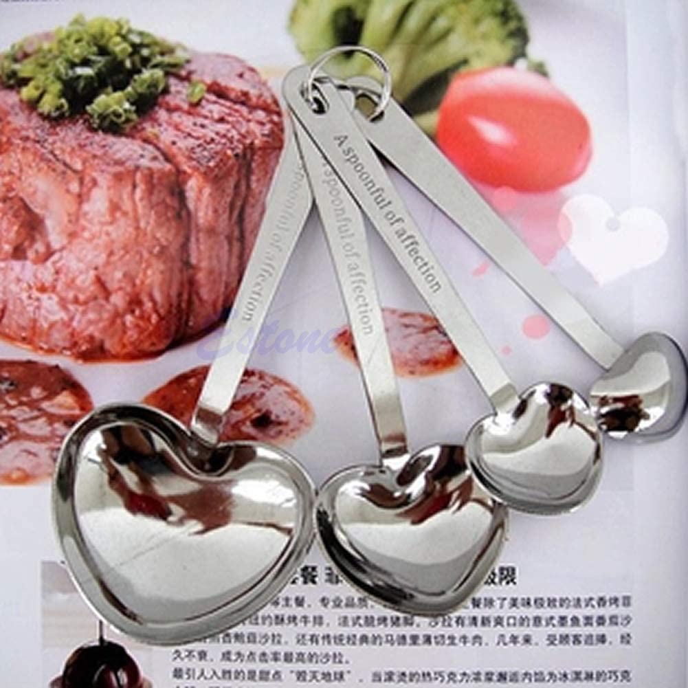 Kofun 4pcs Stainless Steel Heart Shaped Measure Measuring Spoons Cooking Baking Cup