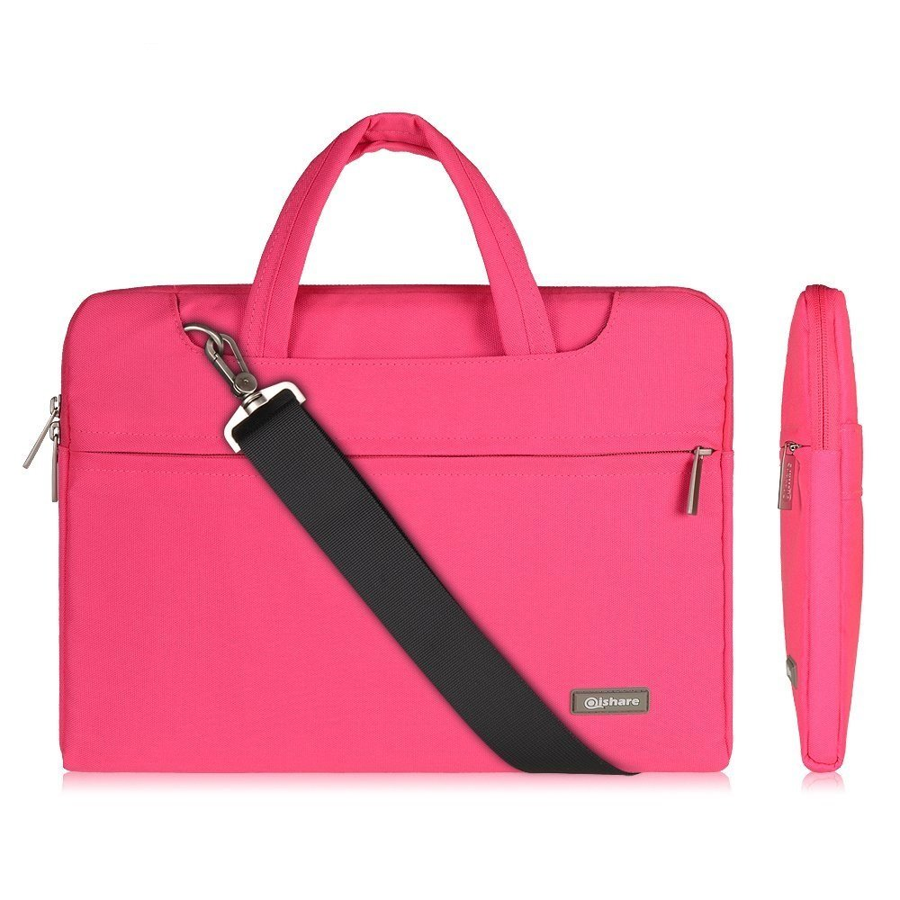 Qishare 13.3 Inch Pink Multi-functional Business Briefcase Sleeve/Messenger Case with Handle and Carrying Strap for Tablet Laptop Chromebook Macbook Ultrabook, Suitable for Students (Pink, 13.3'')