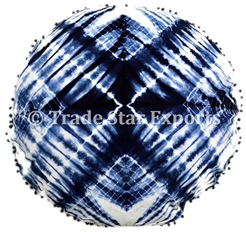 Trade Star Exports Shibori Tie Dye Pillow Cover, 32'' Indian Indigo Cushion, Large Decorative Pillow Cases, Round Floor Pillows Seating, Boho Decor Pouf Cover, Pom Pom Throw Pillows (Pattern 3) by Trade Star Exports