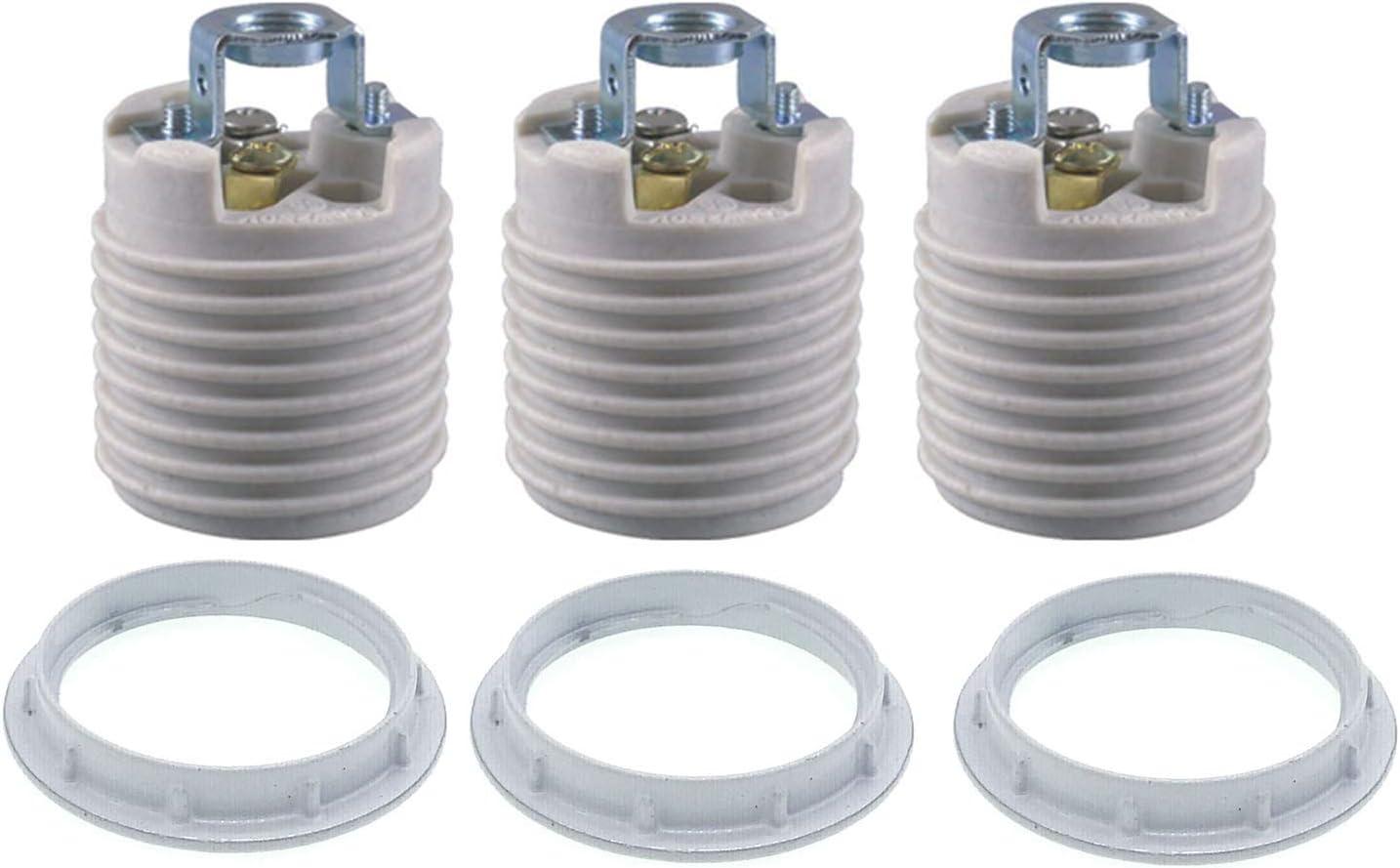 Keyless Porcelain Threaded Socket With Hickey Twdrtdd Medium Base E26 Threaded Keyless Porcelain Lampholder Pack Of 3 Amazon Com