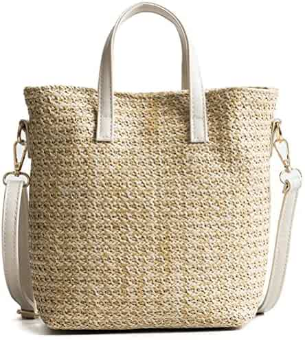 Kimiyar Women Durable Weave Straw Beach Feminine Linen Woven Bucket Grass  Casual Tote Handbags Rattan Bags b8664c8f0adc