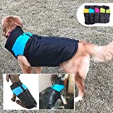 Lovelonglong Dog Winter Coat Warm Down Jacket, Windproof Dog Jackets Puffer Vest with Zipper and Leash Ring for Large Medium Small Dogs,Extra Protection for Outdoor Cold Weather Blue L-M