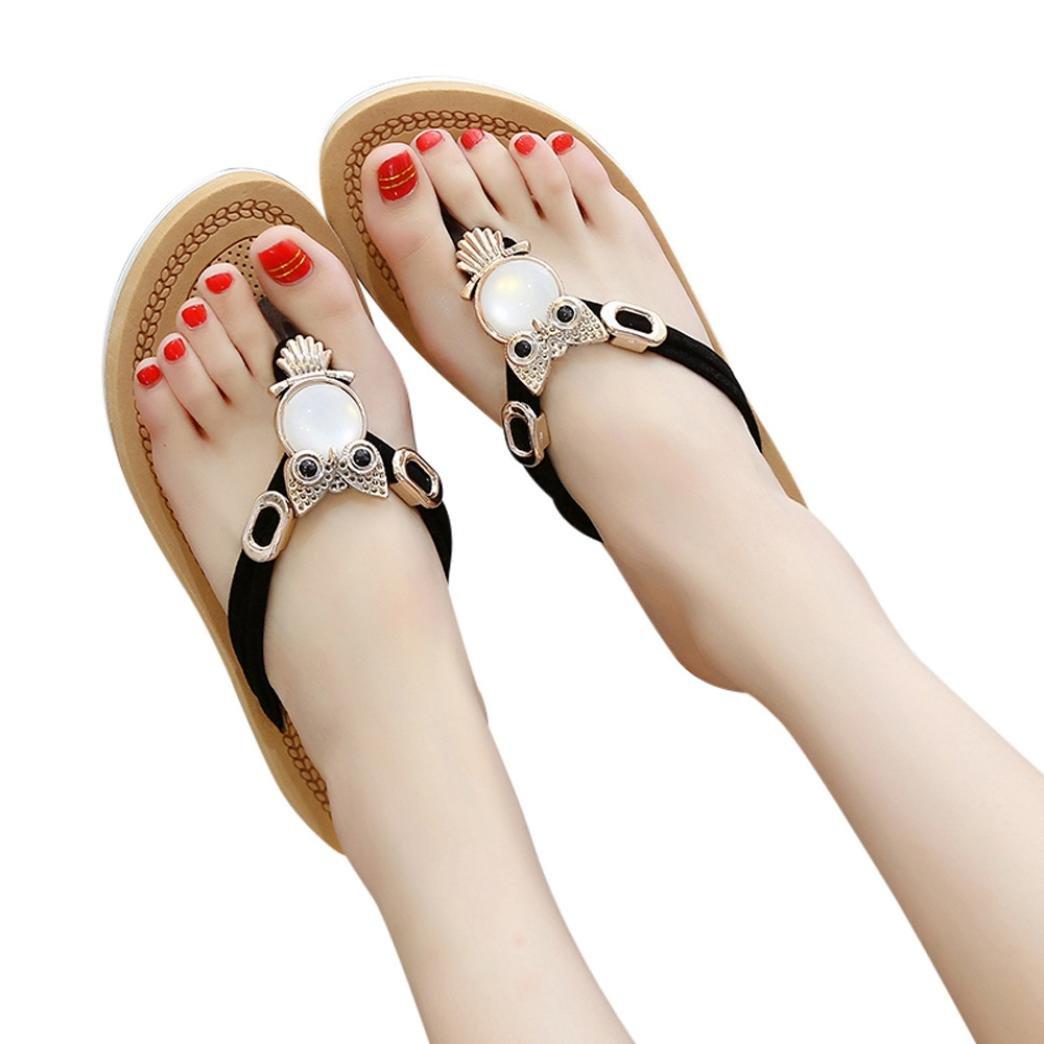 Ouneed- Damen Sandalen, Damen Sommer Frauen Bouml;hmen Crystal Bling Bling Thick Bottom Sandalen Slipper Strandschuhe Zehentrenner36|Schwarz