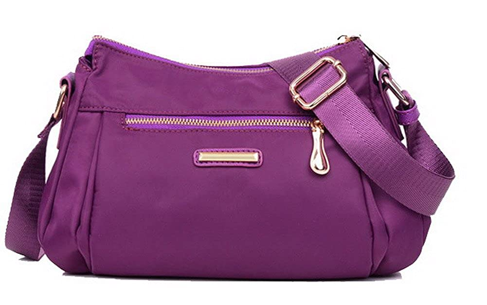 Purple WeiPoot Women's Shopping Shoulder Bags SatchelStyle Nylon Crossbody Bags, EGHBG181371