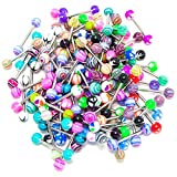 Tongue Stud - TOOGOO(R)20 x Colorful Women Tongue Ring Bar Stud (Random Color)
