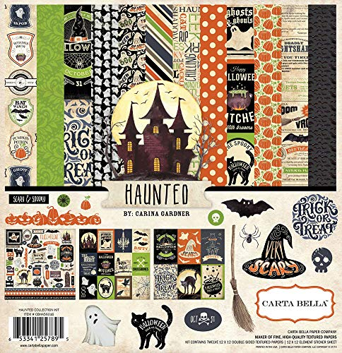 Halloween Scrapbooking Paper (Echo Park - Haunted by Carina Gardner Scrapbooking 12x12 Collection Kit - Item #: CBHA56016TM - Copyright 2015 - Halloween-Themed Featuring Haunted Houses, Ghosts, Black Cats, Pumpkins, and)