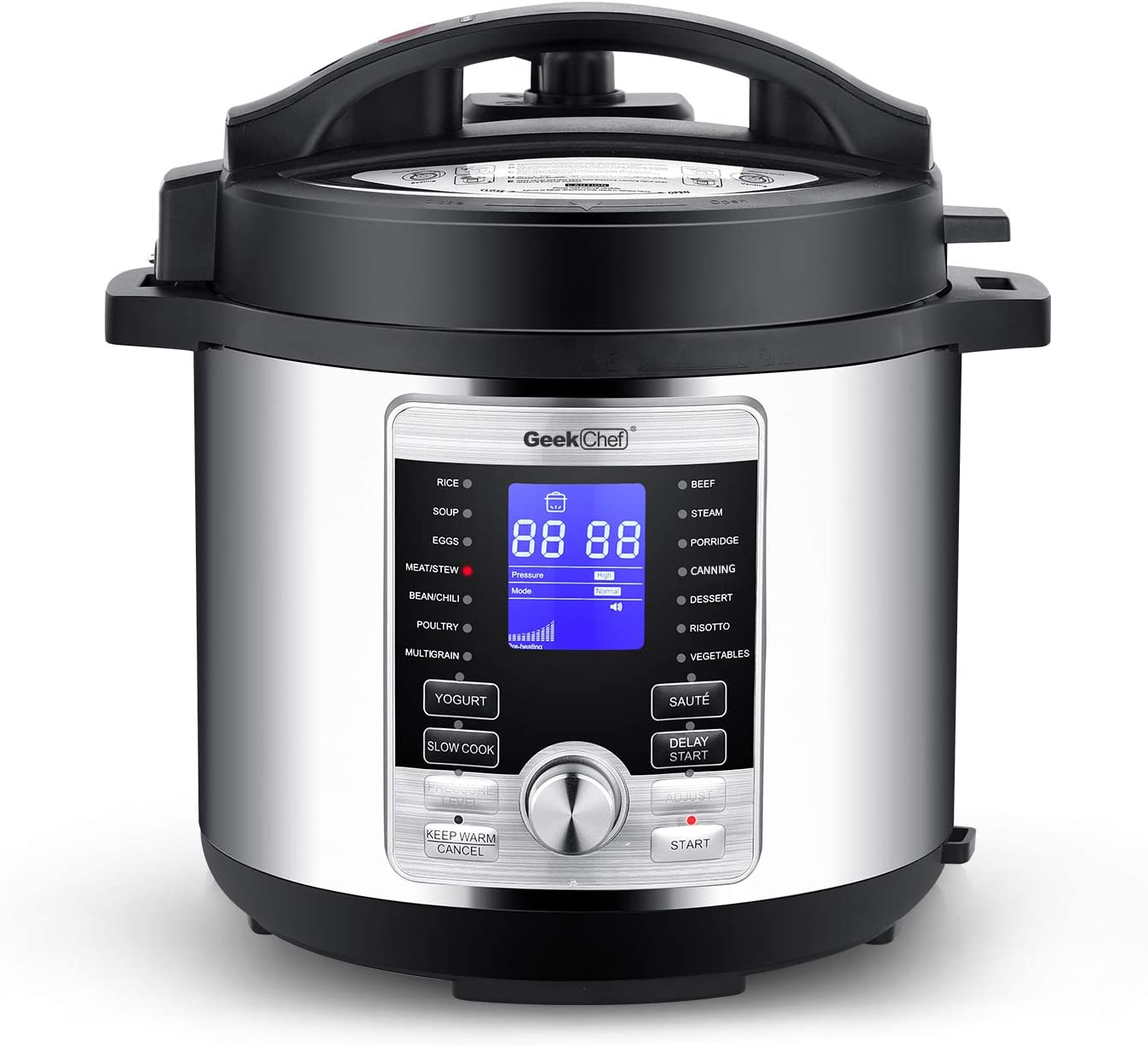 Geek Chef 6 Qt 17-in-1 Multi-Use Electric Pressure Cooker Stainless Steel Inner Pot Programmable LCD Display Digital Slow Cooker, Rice Cooker, Yogurt Maker, Egg Cooker, Sauté, Steamer, Warmer GP60D
