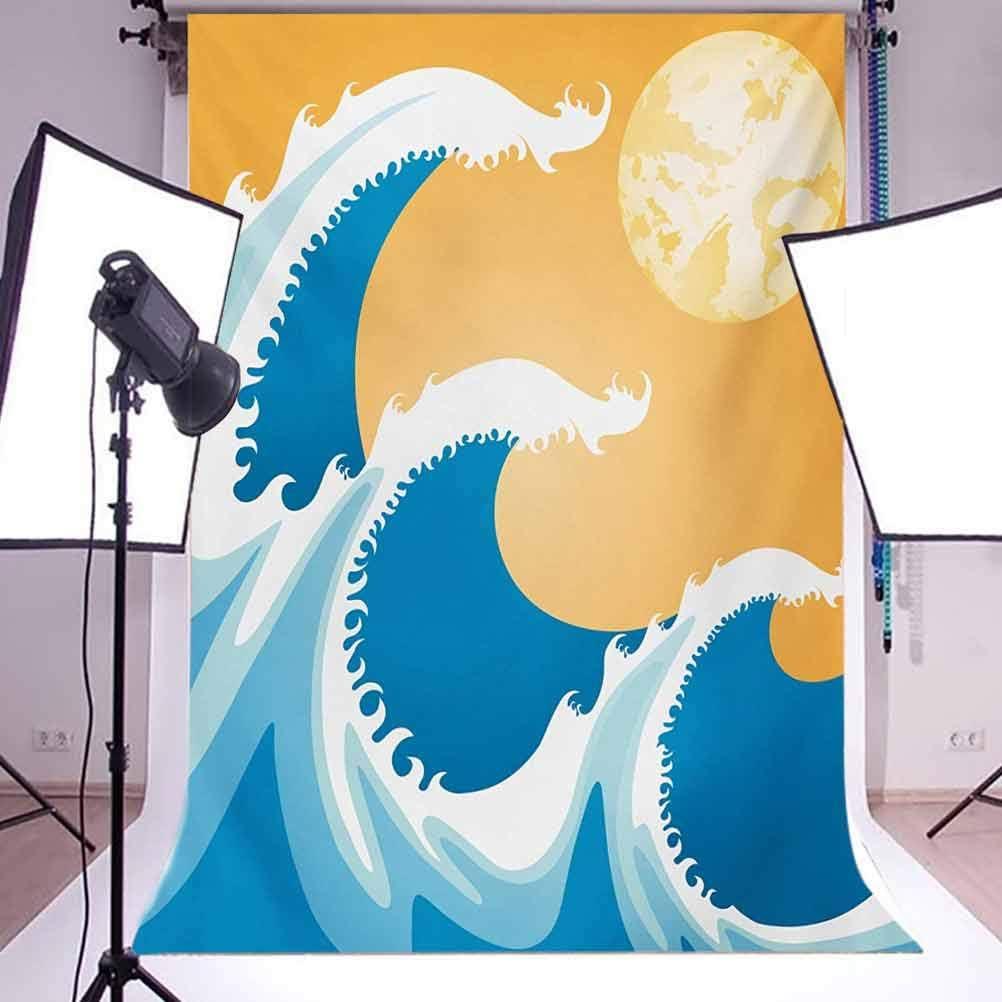 Japanese 10x15 FT Photo Backdrops,Huge Sea Waves at Summer Noon Art Picture Tropical Ocean Storm Tide Background for Kid Baby Boy Girl Artistic Portrait Photo Shoot Studio Props Video Drape Vinyl