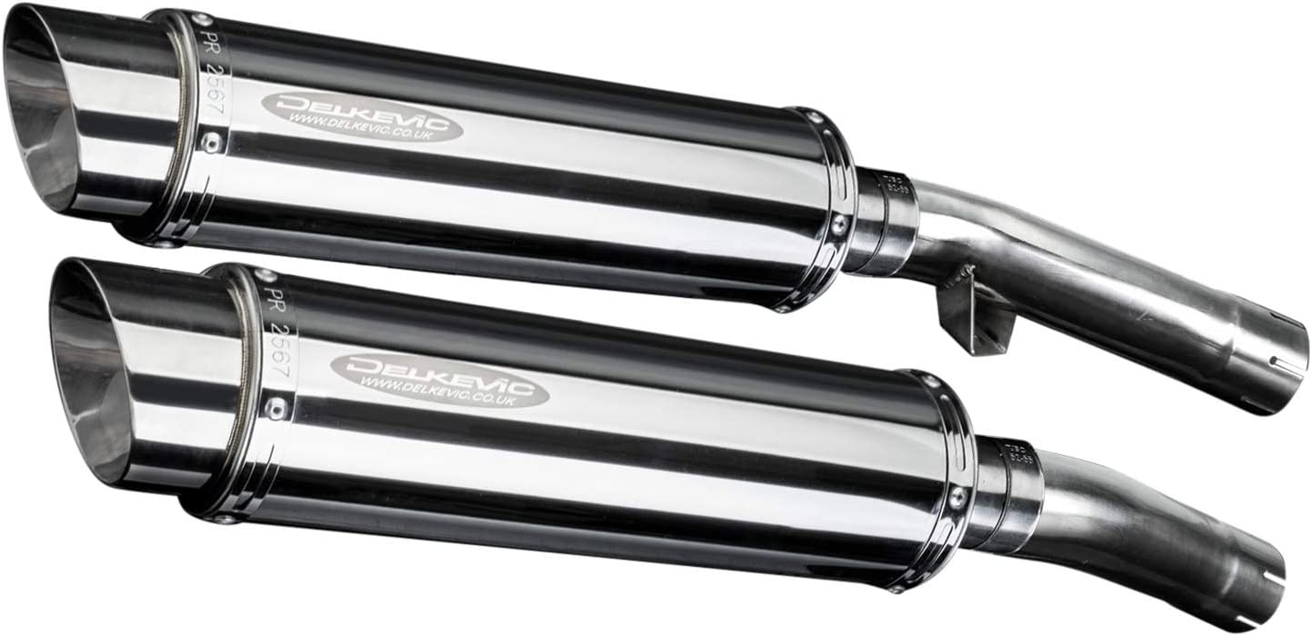 Delkevic Aftermarket Slip On compatible with Yamaha VMAX 1200 SS70 9 Stainless Steel Oval Muffler Exhaust 84-07