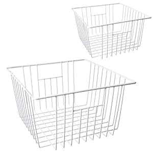 MOHICO Freezer Basket Wire Storage Basket Bins Organizer with Handles for Kitchen, Pantry, Freezer, Cabinet - Pearl White (set of 2)