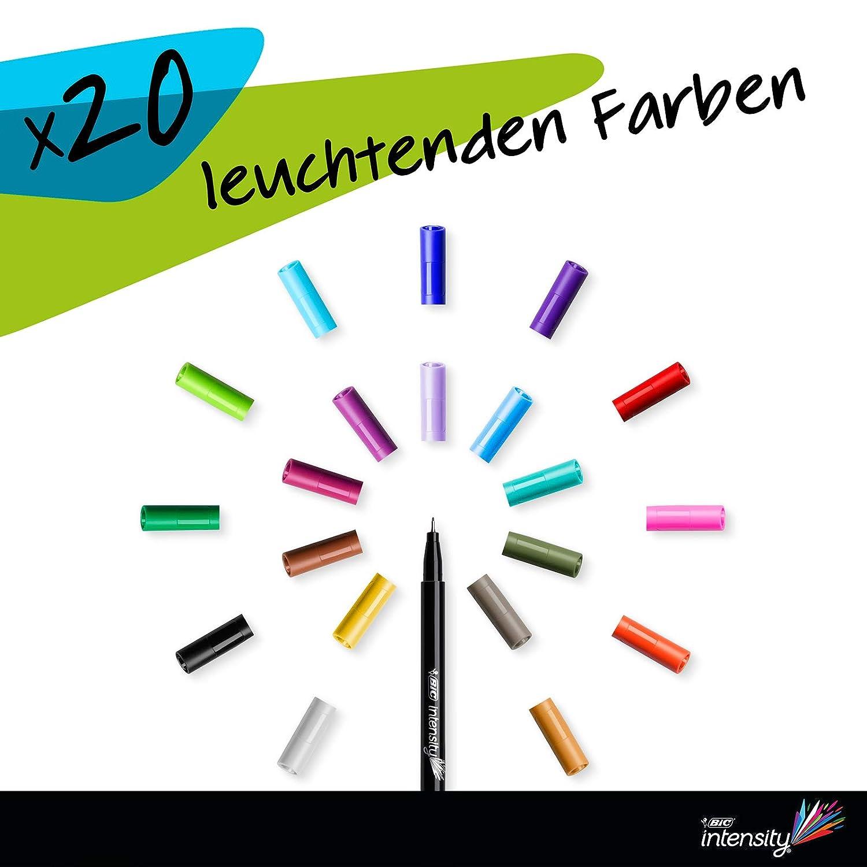 Rotulador de punta fina BIC Intensity - Ideal para el uso diario 0 mm, 4 mm - Diversidad de bol/ígrafos de fibra fina en diferentes colores para uso escolar y de escritura Juego de 20 unidades