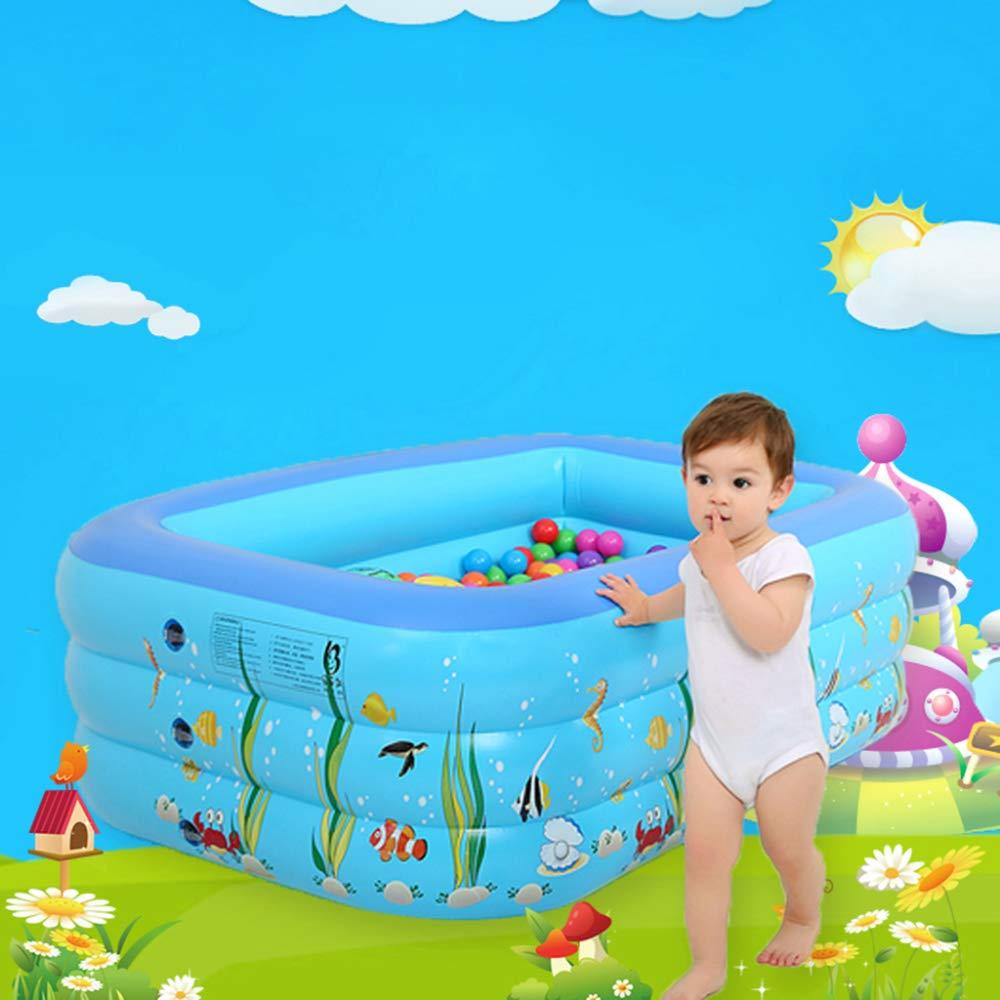 ZHKGANG Aufblasbares Pool des Swimmingpoolbabys Starkes Rechteckiges Poolwannenblau Der Kinder Im Freien,Blau-260  165  65cm Blau 1209035cm