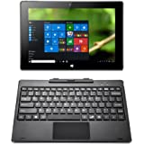iRULU Walknbook 2 en 1 Tablette Tactile 10.1 Pouces avec Clavier AZERTY Détachable - 2 Go + 32 Go - Quad Core - Windows 10 (Grise Arrière,6000mAh)