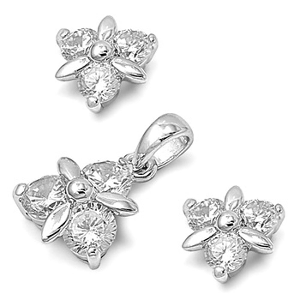 Flower Earrings Clear Simulated CZ .925 Sterling Silver Pendant Set
