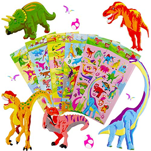 Kids Dinosaur Stickers, Non-Toxic 3D Puffy Stickers for Dinosaur Fans, Kindergarten Reward Stickers Prizes, Bulk Stickers for Boy Girl Birthday Gift