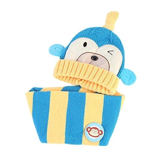 47101d1c844 Amazon.com  Weiyun Baby Monkey Hat+Scarf 2Pcs Baby Boys Girls Kids Cartoon  Monkey Hat+Scarf 2Pcs Child Knitting Warm Hats Cap (Blue)  Clothing