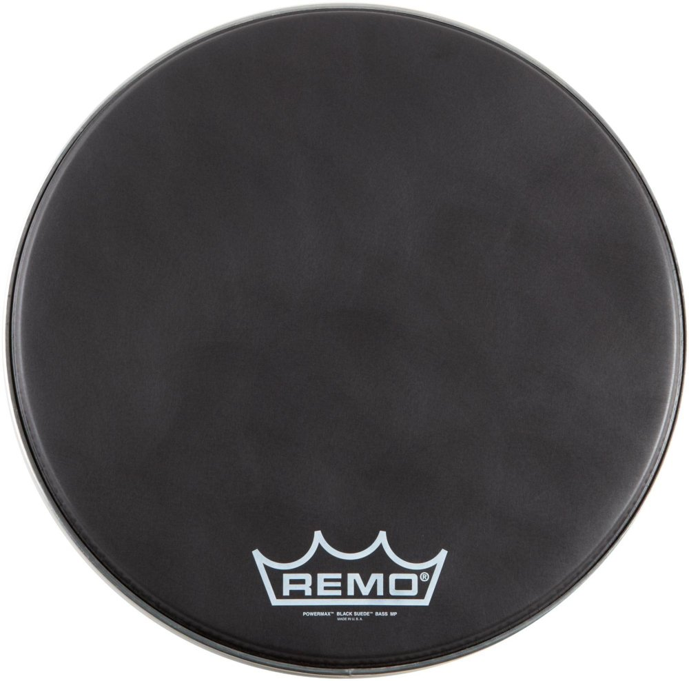 Remo Black Suede PowerMax Series Bass Drumhead with Crimplock Matte Black 14