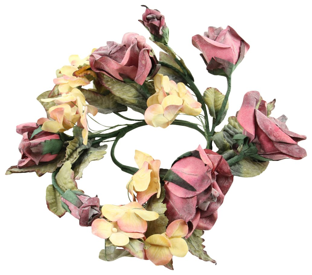 4 Beauty Rose /& Hydrangea Candle Ring