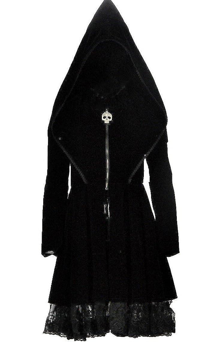 Appendiabiti, in velluto, con cappuccio e pizzo, stile gotico