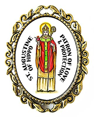 """St Augustine of Hippo Patron of Love and Protection Huge 2"""" Antique Bronze Gold Pin Brooche"""