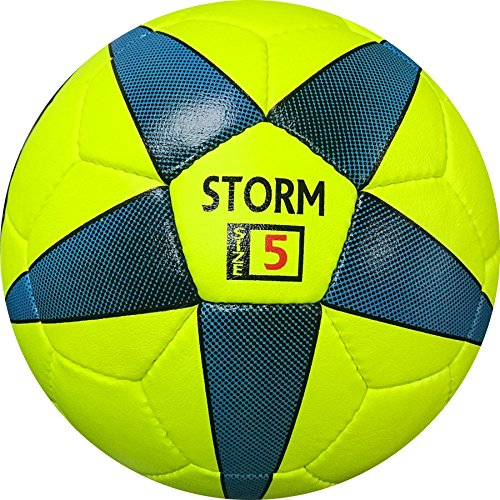 Storm Soccer Ball - Hand Stitched - Synthetic PU Leather - Soft Touch (Yellow/Blue)