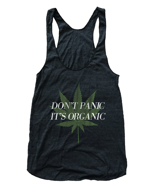 RexLambo Women's Don't Panic It's Organic Cannabis Flowy Tri-Blend Racerback Tank Top