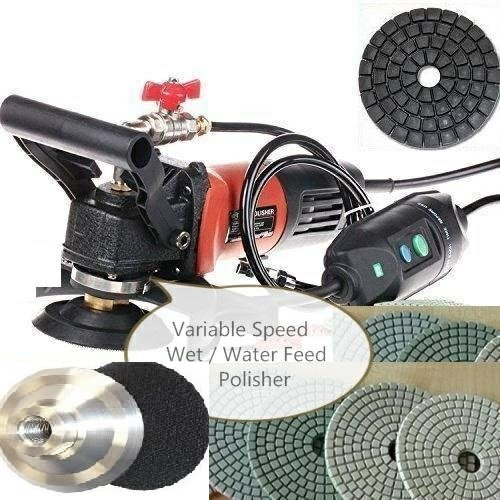 4-Inch to 5-Inch Variable Speed Wet Polisher Grinder Sander 5 Inch Polishing Pad Glaze Buff 21+1 Granite Concrete Marble Glass Quartz Travertine Terrazzo Lapidary grinding