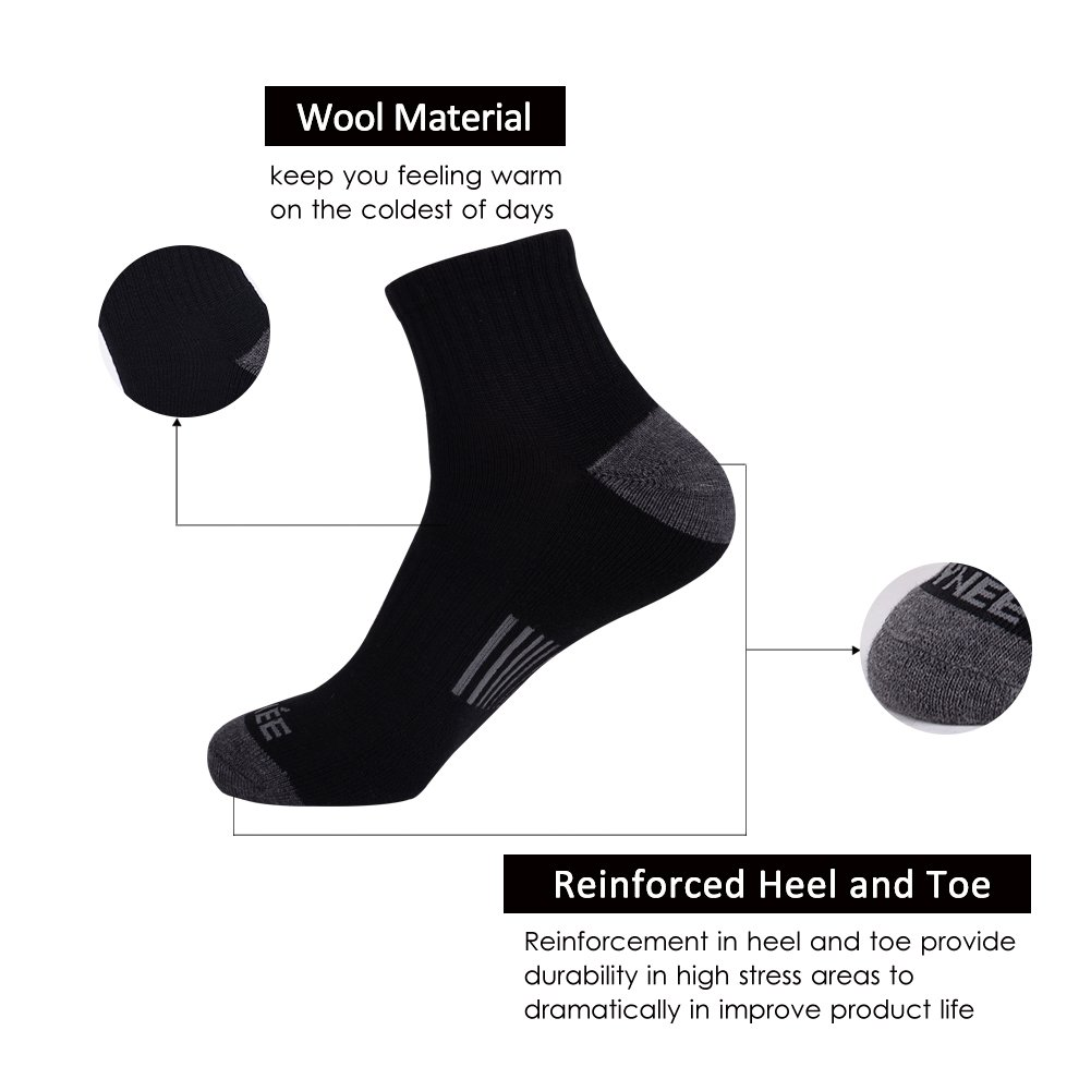 JOYN/ÉE Mens 4 Pack Athletic Winter Warm Thermal Cushion Merino Wool Ankle Socks