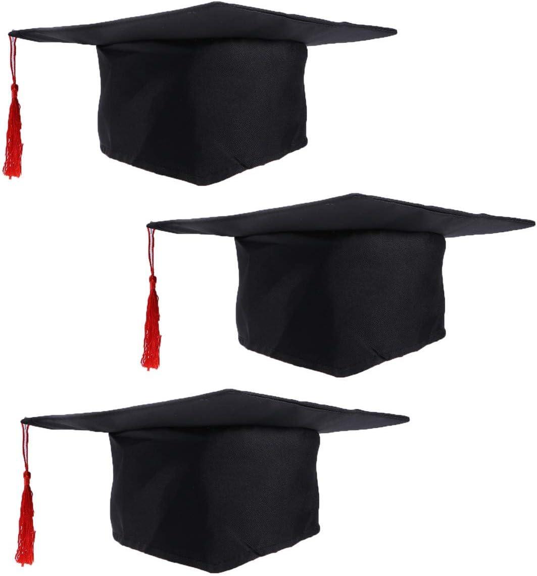 LUOEM 3 x Sombrero de graduación de los niños Gorra de doctorado Accesorio con Borla roja para niños