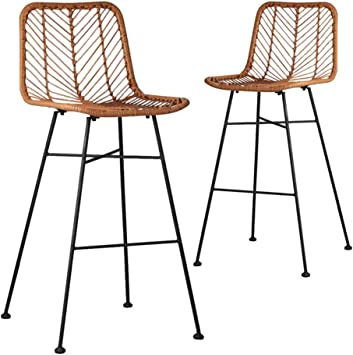 White Modern Desk Chair, Amazon Com Hgna Stools Bar Chairs Rattan Wicker Kitchen Counter Stool With Back Black Metal Legs Seat Height 60cm Including 1x Chair Furniture Decor