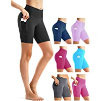 Rocorose Women's High Waisted Yoga Shorts Tummy Control Side Pockets Workout Athletic Running Shorts
