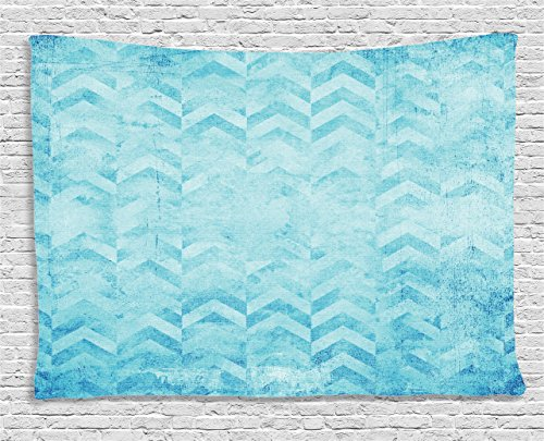 Ambesonne Turquoise Tapestry, Geometric Design Chevron Patterns on Old Vintage Paper Contemporary Art Print, Wide Wall Hanging for Bedroom Living Room Dorm, 80